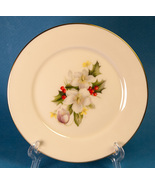 "Lenox Holiday Special 6-3/8"" Bread Plate Holly Flowers Gold Trim - $5.00"
