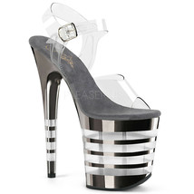 "PLEASER Sexy 8"" Heel Stripper Lined Pewter Chrome Platform Clear Women's... - $79.95"