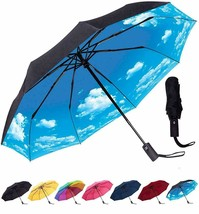 Compact Travel Umbrella - Windproof, Reinforced Canopy, Ergonomic Handle, Auto O - $48.99