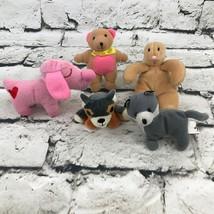 Mini Plush Lot Of 5 Pink Puppy Brown Bunny Bear Gray Wolf Red Panda Soft... - $14.84