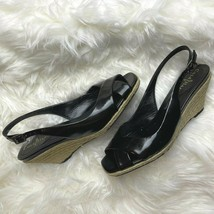 Cole Haan Size 7.5 Black Patent Leather Espadrille Wedges Open Toe Sandals - $34.64