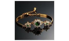 2.35cttw Green & White Diamond Fashion Bracelet 14K Yellow Gold Plated Sterling - $215.99