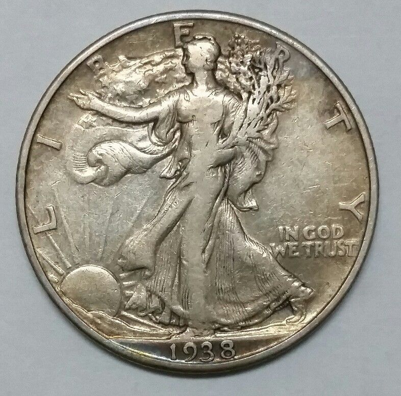 1938D Walking Liberty Half Dollar 90% Silver Coin Lot# EA 344