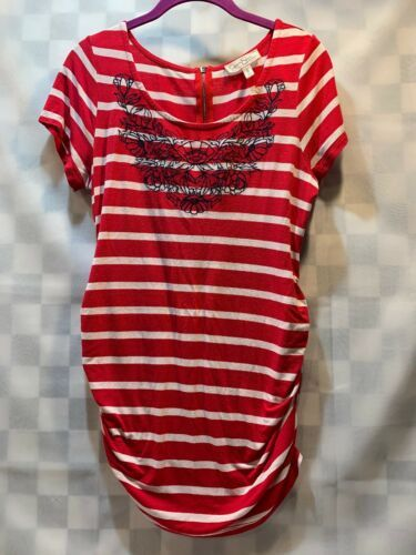Primary image for JESSICA SIMPSON Maternity Top Embroidered Red White Striped Women's Shirt Size M