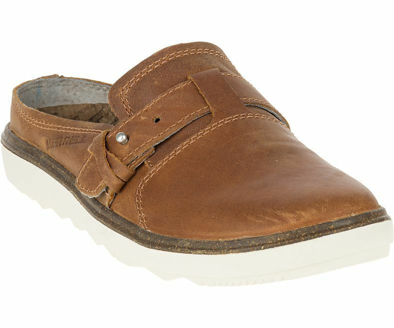 Merrell Damen Atmungsaktiv Around Town Slipper Braun Leather-Shoes Neu Ovp