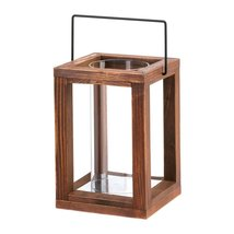 Candle Lanterns Decorative, Outdoor Patio Garden Rustic Wooden Candle La... - $25.30