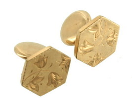 Antique Deco Gold Filled Engraved Tulips Leaves Hexagon GF Flip Cufflinks Dainty - $41.39