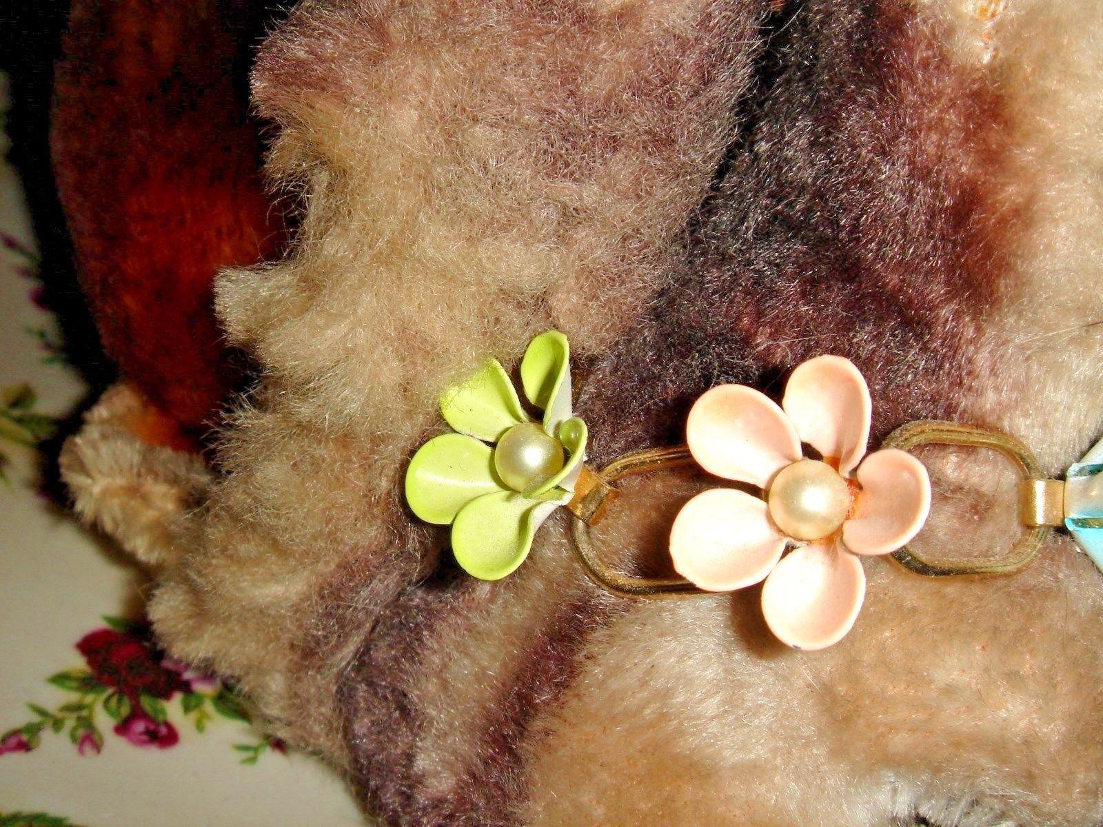 VTG ENAMEL FAUX PEARL FLOWER BRACELET WREATH BROOCH DANGLE DROP EARRING SET 3pc!