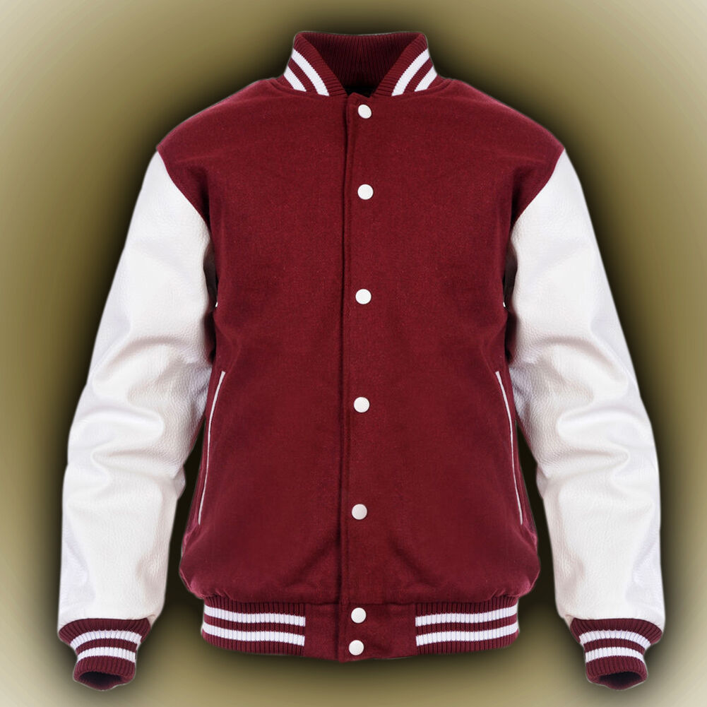 Primary image for MAROON NEW Varsity Letterman Wool Jacket with Leather Sleeves XS-4XL