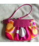 Coach Multi-color Sateen and Patent Leather Trim Wristlet - $18.81