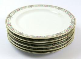 """Set of 6 Vintage Hutschenreuther 10"""" Plates, Blue Pink Floral Gold, Bavaria - $56.42"""