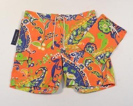 Ralph Lauren Orange Floral Swim Trunks Boardshorts with Carry Bag Mens N... - $123.74