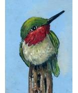 Orig Oil Painting aceo landscape Hummingbird SFA ATC Sketch card miniature - $5.00