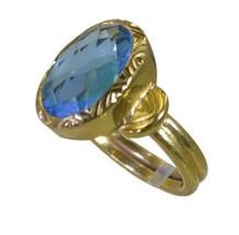 elegant Blue Topaz CZ Gold Plated Blue  Ring genuine regular US gift - $24.99