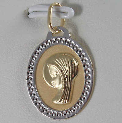 SOLID 18K WHITE YELLOW GOLD MEDAL VIRGIN MARIA MADONNA ENGRAVABLE, MADE IN ITALY