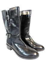 Michael Kors Women's Blake Buckle Boot Black Distressed Leather Size 6.5M - $59.35