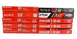 Lot 10 SONY 60 Blank Audio Cassettes Tapes FUJI DR90 TDK D60 Maxell UR60 - $15.71