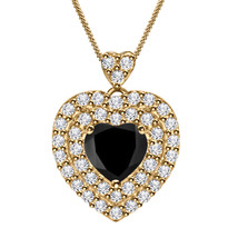 "1.27 CT HEART BLACK 14K YELLOW GOLD OVER FANCY HALO WOMEN'S PENDANT 18"" ... - $29.11"