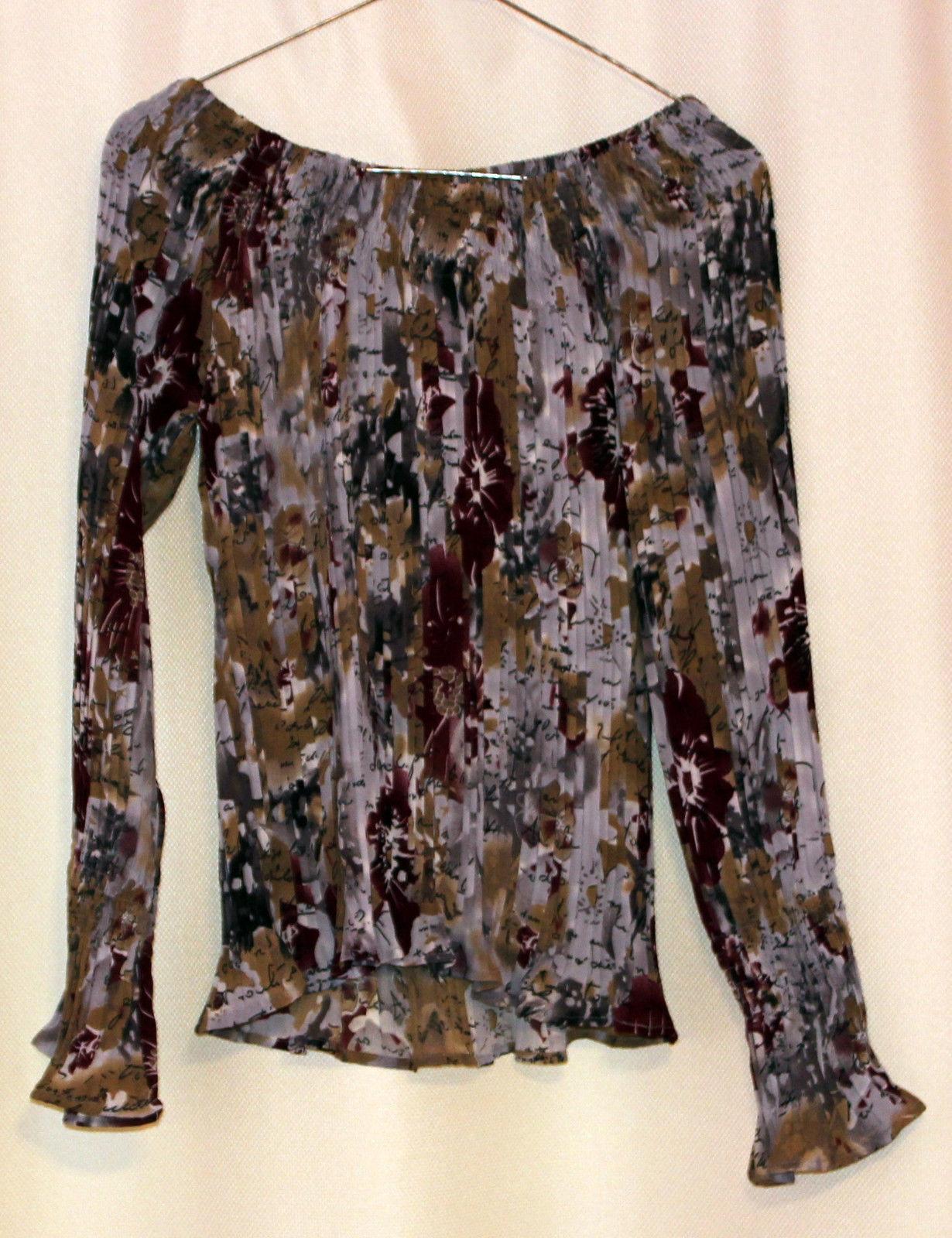 Dress-U Long Sleeve Multicolor Flower Off-shoulder Crinkled Pleated Top Blouse L