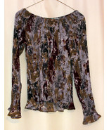 Dress-U Long Sleeve Multicolor Flower Off-shoulder Crinkled Pleated Top ... - $9.99