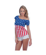USA American Flag T-Shirt Women's Drop-Shoulder Patriotic Stars & Stripes - £12.04 GBP+