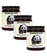 "BROWNWOOD ACRES MICHIGAN CHERRY PRESERVES ""SINCE 1945"" - 3 PACK- SHIPS FREE - $27.95"