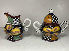 Studio Designworks Sugar & Creamer Set  Floral / Geometric Whimsical Cov... - $34.64