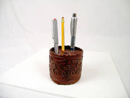 #453 Hand Tooled Leather Pen Holder Cup Western Office Artisan Made Quality - $13.42