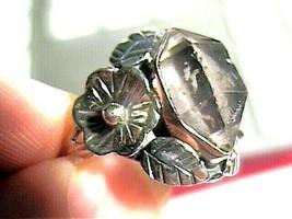 Herkimer diamond Silver RING 7 ESTATE NATURAL SILVER 925 health rough ar... - $60.60