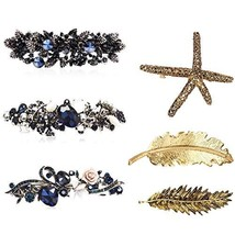 Vovii 6 Pieces Hair Clips for Women, Crystal Rhinestones Flower Hair Barrettes f