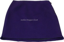 NWT ELIE TAHARI thick wool mini skirt 12 purple career cocktail soft warm short - $111.55