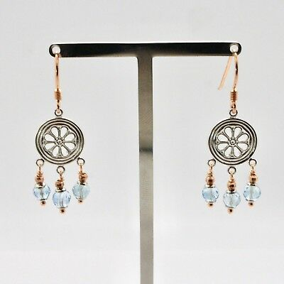 EARRINGS SILVER 925 LAMINATED GOLD PINK WITH AQUAMARINE FACETED