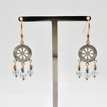 EARRINGS SILVER 925 LAMINATED GOLD PINK WITH AQUAMARINE FACETED image 1