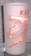 1960'S RETRO HAZEL ATLAS--FROSTED SOUVENIR GLASS FLORIDA - $14.95