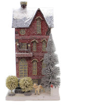 Cody Foster Red Tall City Townhouse With Dog Christmas Village House - $219.70