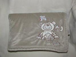 Koala Baby M is for Monkey Baby Boy Brown Tan Beige Sherpa Blanket 2010 - $69.29
