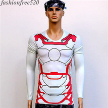 Male Casual Sports Cyling Jersey T-shirt Short Sleeve Tee Ironman Cosplay Tops - $8.79