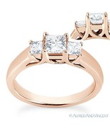 Forever ONE D-E-F Square Cut Moissanite 3-Stone Engagement Ring in 14k R... - €603,54 EUR+