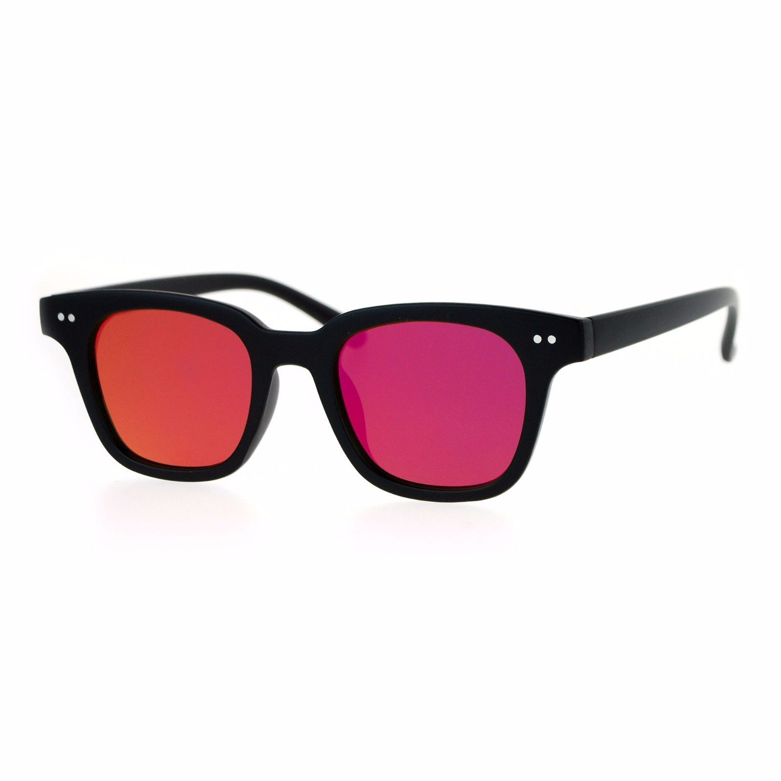 cacfef075a 57. 57. Mirrored Flat Lens Sunglasses Square Horn Rimmed Retro Trendy  Shades UV400. Mirrored Flat Lens Sunglasses ...