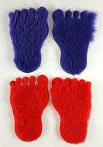 "Barbie Clone 6-3/4"" Barefoot Fur Rugs 1960s 2 Red & 2 Purple Rugs - $29.69"