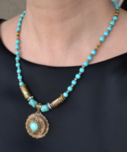 Turquoise Necklace, Tribal Turquoise Necklace, Antique, Beaded Necklace ... - $32.99