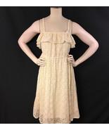 Torrid Dress Crocheted Beige Medium Off Shoulder Below Knee Check Measur... - $14.99