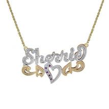 0.10 Carat Diamond & 0.05 Carat Rubies 'Sherrie' Nameplate Pendant 14K Two Tone  - $395.01