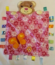 Taggies Teddy Bear Lovey Satin Tab Security Blankie Pals Pink Floral Butterfly - $19.78