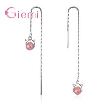 Real 925 Sterling Silver Charming Sweet Lovely Cat Shape Pink Opal Chain... - $8.24