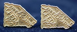 2 Sterling Silver Lapel Pins 25th Anniversary C.F.E.D.A 1960 Vintage Collectible - $14.54