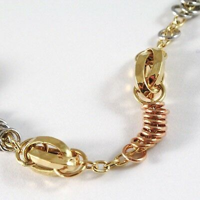 Bracelet Yellow White Rose Gold 18K 750, Circles, Oval Machined, Italy Made