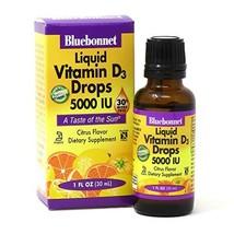 Bluebonnet Nutrition Liquid Vitamin D3 Drops 5000 IU, Aids in Muscle and Skeleta