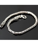 Mens Sterling Silver Bracelet Hand Crafted Dandy Bali Style Chain Hip Ho... - $98.55