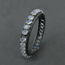 Solid 925 Sterling Silver Moonstone Diamond Bangle Bracelet Handmade Jew... - $466.57